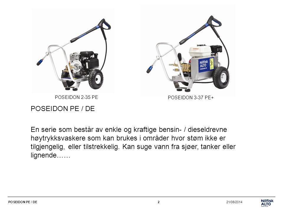 13 21/06/2014POSEIDON PE / DE13 POSEIDON 5-54DE •195 bar, 950-1000 l/t – høytrykk og riktig vannmengde til de mest krevende oppgavene •Industriel Yanmar dieselmotor, 10 HK •Elektrisk start av motoren – gjør den lettere å starte, færre problemer •2 luftfylte gummihjul + 2 styrehjul, som gir god mobilitet •Keramiske stempler •Gearredusert akseltrekk – 1450 o/min: lang levetid •Kraftig 30 mm stålramme •Termisk avlastningsventil •Kjemiinjektor •Tornado Plus-lanse •10 m DN8 slange •Ergo-tilbehør 0Timers bruk pr.
