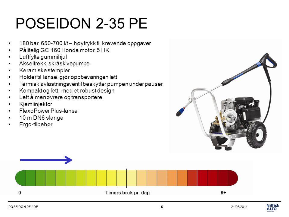 6 21/06/2014POSEIDON PE / DE6 POSEIDON 3-39 PE •165 bar, 750-810 l/t til krevende oppgaver •Profesjonell og pålitelig GX 160 Honda motor, 5,5 HK •Luftfylte gummihjul •Akseltrekk, skråskivepumpe •Keramiske stempler •Holder til lanse, •Termisk avlastningsventil beskytter pumpen under pauser •Stopper ved lavt nivå på motorolje, slik at motoren beskyttes •Kompakt og lett, men har stadig et robust design •Lett å manøvrere og transportere •Kjemiinjektor •FlexoPower Plus-lanse •10 m DN6 slange •Ergo-tilbehør 0Timers bruk pr.