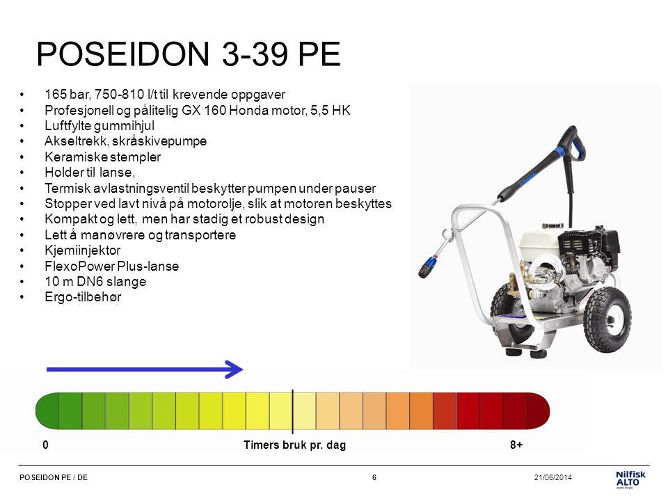 7 21/06/2014POSEIDON PE / DE7 POSEIDON 3-37 PE PLUS •150 bar, 740-800 l/t •Profesjonell og pålitelig GX 160 Honda motor, 5,5 HK •Reimtrekk, saktegående pumpe: lengre levetid •Luftfylte gummihjul •Skråskivepumpe •Keramiske stempler •Holder til lanse, gjør oppbevaringen lett •Termisk avlastningsventil beskytter pumpen under pauser •Stopper ved lavt nivå på motorolje, slik at motoren beskyttes • Kompakt og lett, men har stadig et robust design •Lett å manøvrere og transportere •Kjemiinjektor •FlexoPower Plus-lanse •10 m DN6 slange •Ergo-tilbehør 0Timers bruk pr.