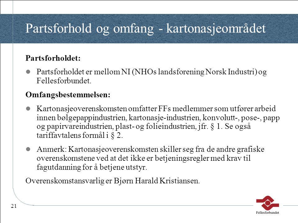 21 Partsforhold og omfang - kartonasjeområdet Partsforholdet:  Partsforholdet er mellom NI (NHOs landsforening Norsk Industri) og Fellesforbundet. Om