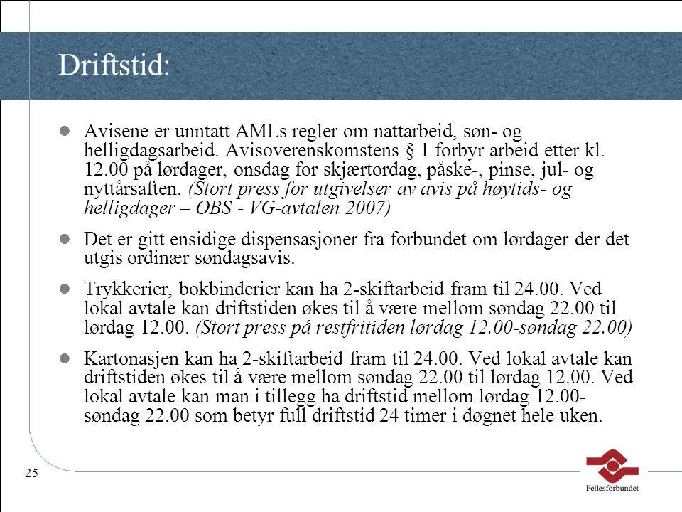25 Driftstid:  Avisene er unntatt AMLs regler om nattarbeid, søn- og helligdagsarbeid. Avisoverenskomstens § 1 forbyr arbeid etter kl. 12.00 på lørda