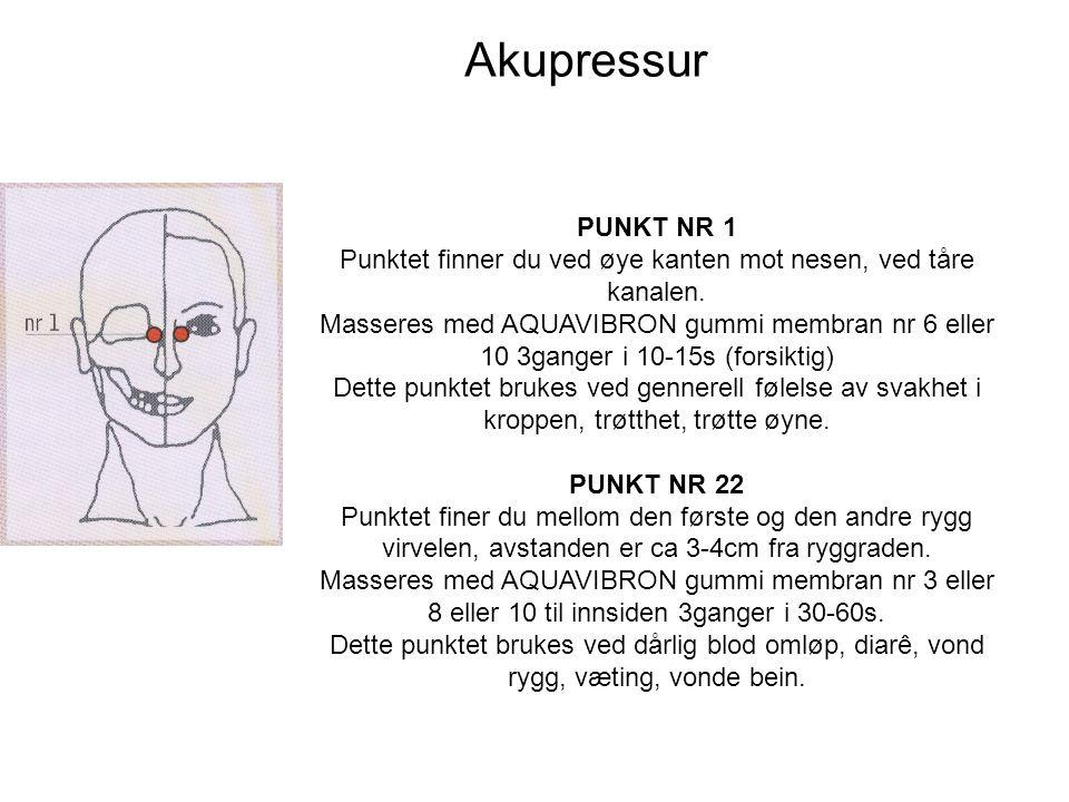 Akupressur PUNKT NR 1 Punktet finner du ved øye kanten mot nesen, ved tåre kanalen.