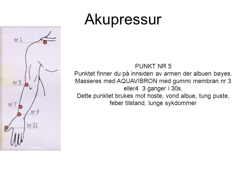Akupressur PUNKT NR 5 Punktet finner du på innsiden av armen der albuen bøyes.
