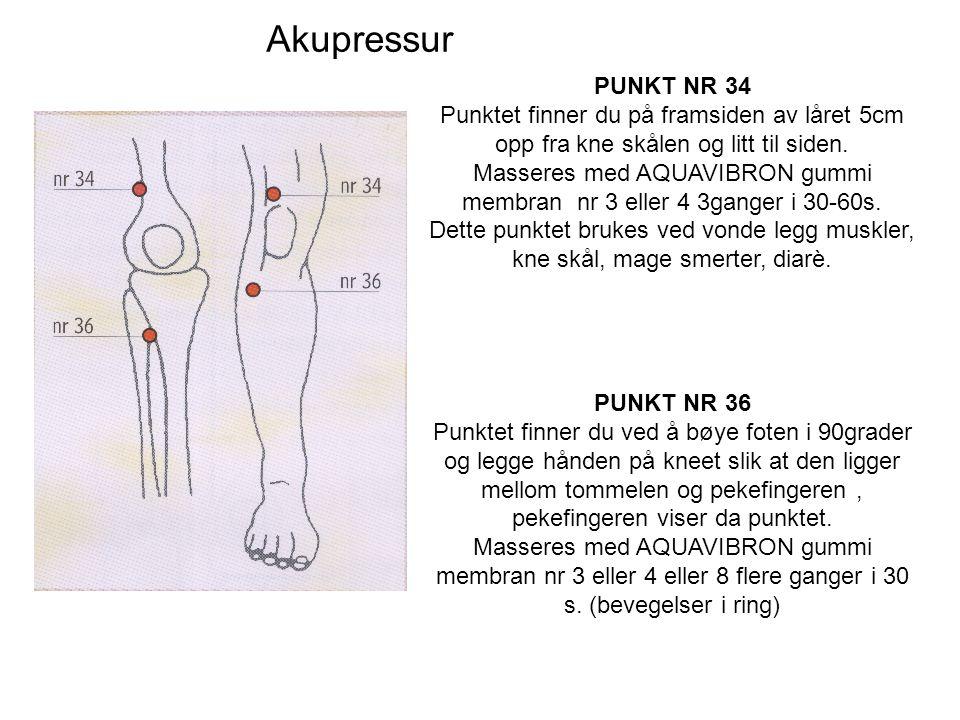 Akupressur PUNKT NR 34 Punktet finner du på framsiden av låret 5cm opp fra kne skålen og litt til siden.