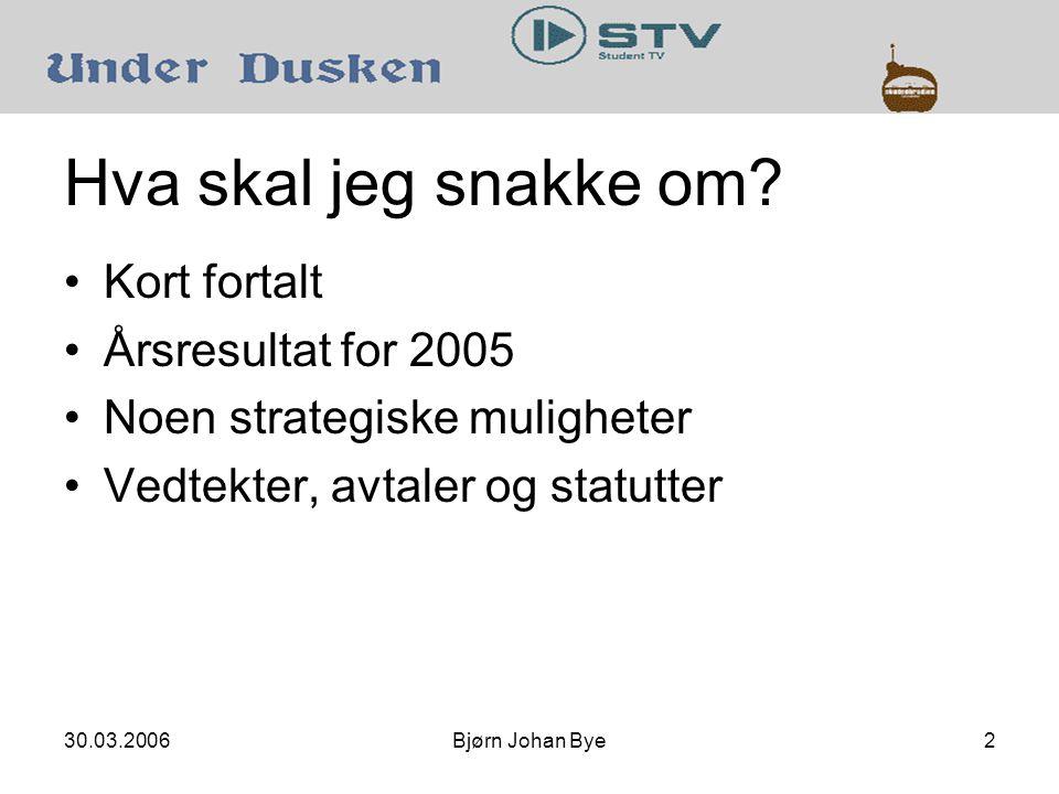 30.03.2006Bjørn Johan Bye13 Kort fortalt: StudentTV Oppslutning om TV-kanaler 2005