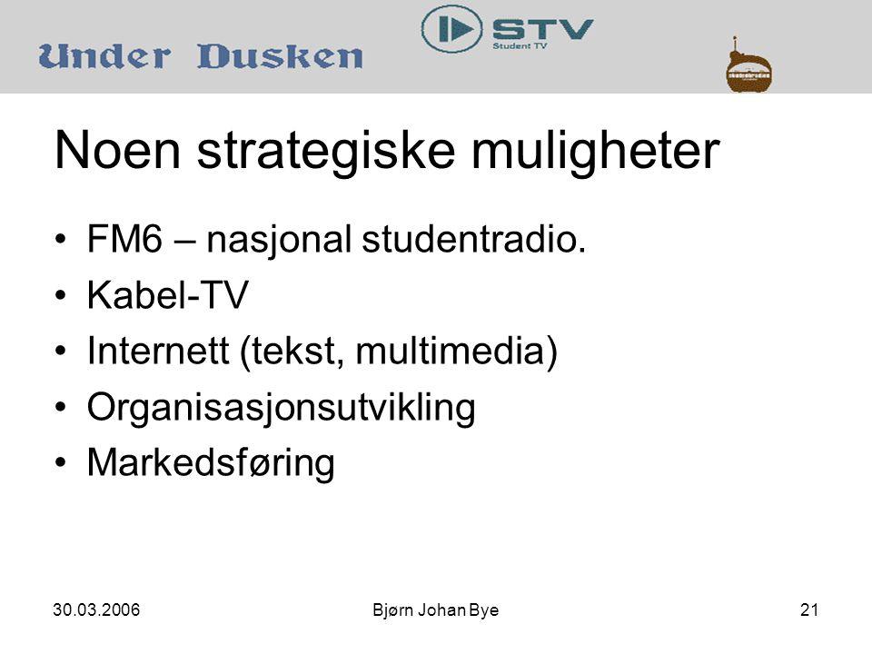 30.03.2006Bjørn Johan Bye21 Noen strategiske muligheter •FM6 – nasjonal studentradio.