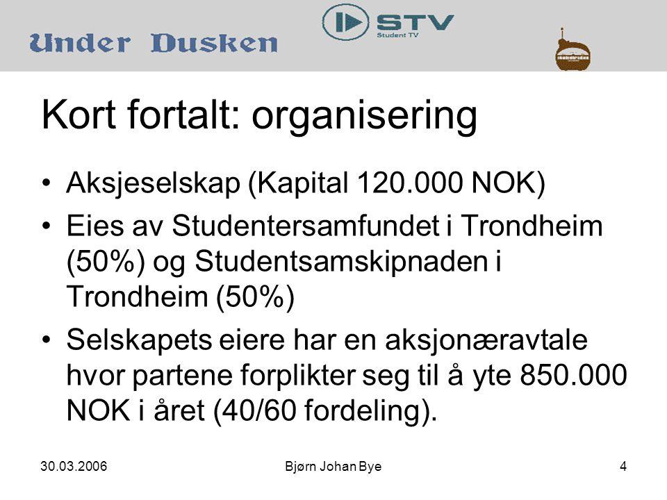 30.03.2006Bjørn Johan Bye4 Kort fortalt: organisering •Aksjeselskap (Kapital 120.000 NOK) •Eies av Studentersamfundet i Trondheim (50%) og Studentsamskipnaden i Trondheim (50%) •Selskapets eiere har en aksjonæravtale hvor partene forplikter seg til å yte 850.000 NOK i året (40/60 fordeling).