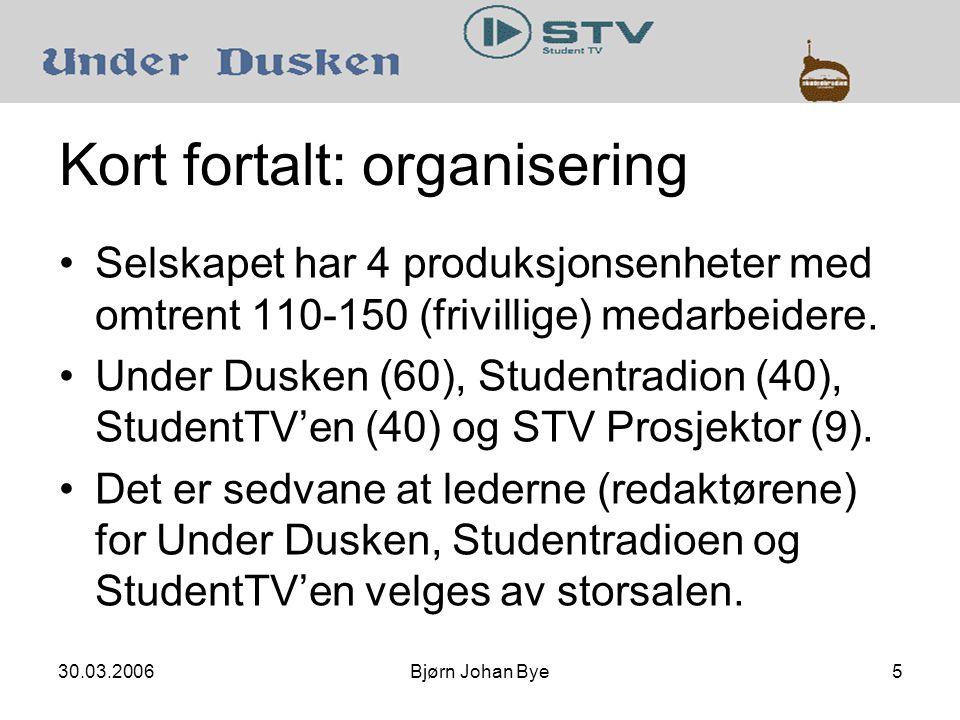 30.03.2006Bjørn Johan Bye6 Kort fortalt: organisering •Selskapet har 4 produksjonsenheter med omtrent 110-150 (frivillige) medarbeidere.
