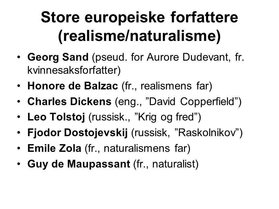 Store europeiske forfattere (realisme/naturalisme) •Georg Sand (pseud. for Aurore Dudevant, fr. kvinnesaksforfatter) •Honore de Balzac (fr., realismen