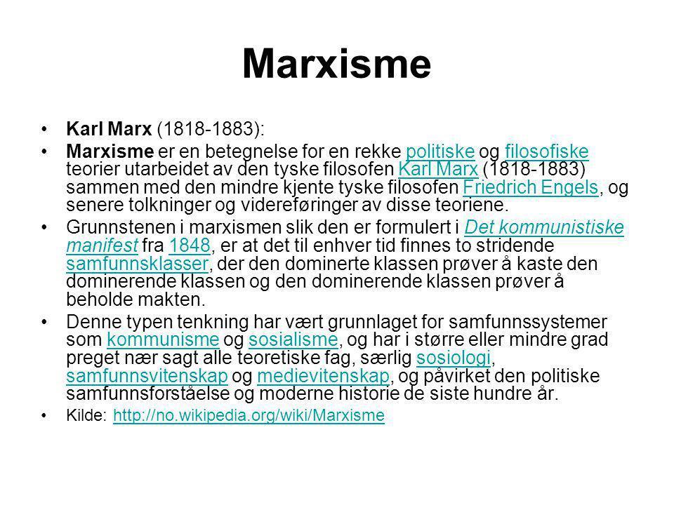 Marxisme •Karl Marx (1818-1883): •Marxisme er en betegnelse for en rekke politiske og filosofiske teorier utarbeidet av den tyske filosofen Karl Marx