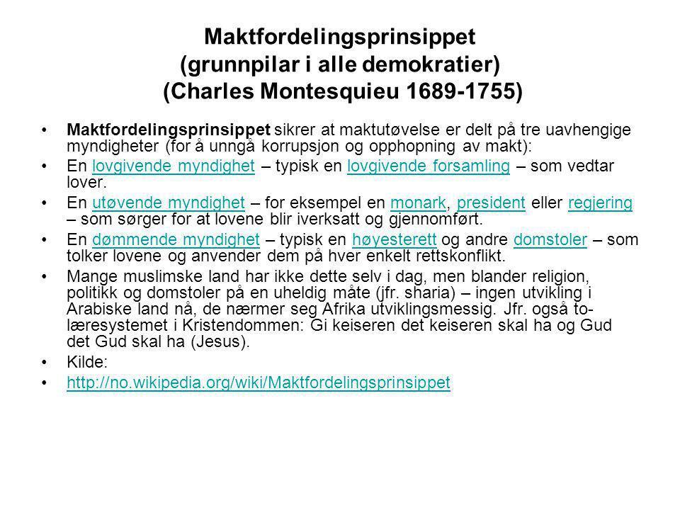 Maktfordelingsprinsippet (grunnpilar i alle demokratier) (Charles Montesquieu 1689-1755) •Maktfordelingsprinsippet sikrer at maktutøvelse er delt på t