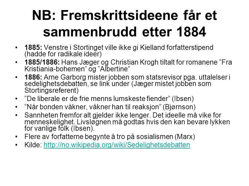 NB: Fremskrittsideene får et sammenbrudd etter 1884 •1885: Venstre i Stortinget ville ikke gi Kielland forfatterstipend (hadde for radikale ideer) •18