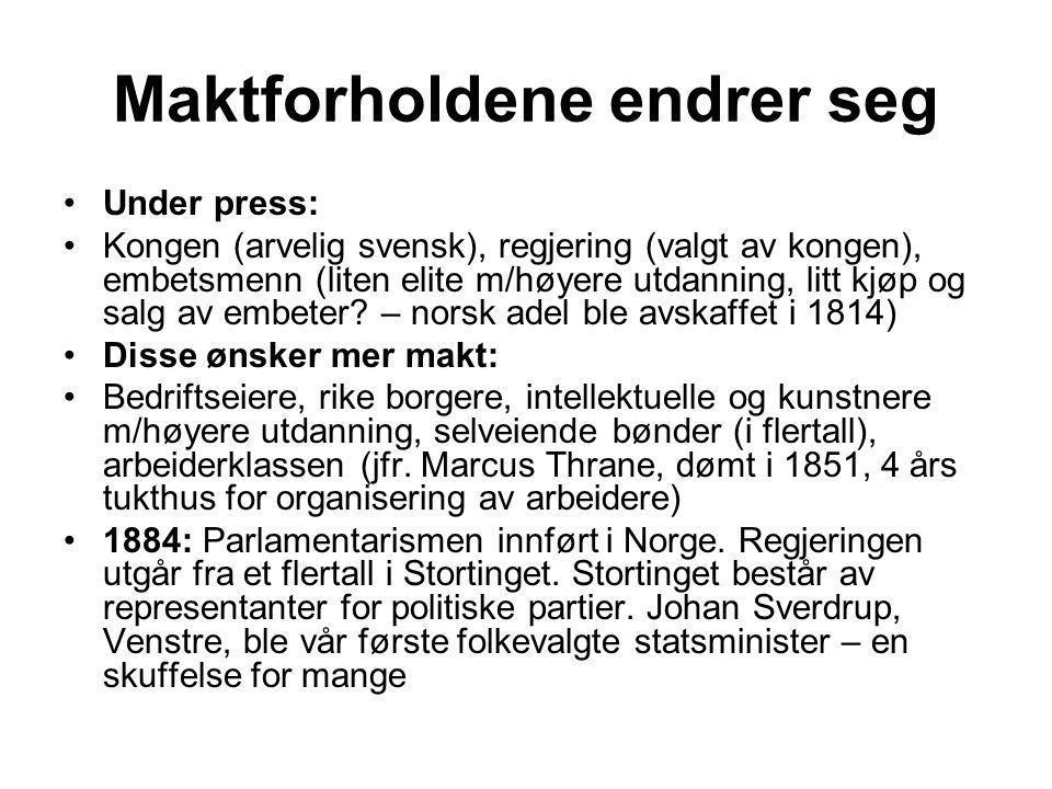 Maktforholdene endrer seg •Under press: •Kongen (arvelig svensk), regjering (valgt av kongen), embetsmenn (liten elite m/høyere utdanning, litt kjøp o