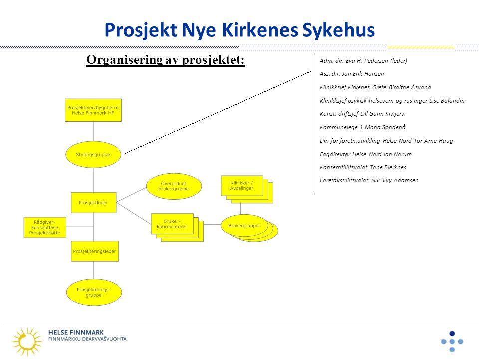 Prosjekt Nye Kirkenes Sykehus Overordnet brukergruppe • Brukergruppen sammensatt av representanter fra de involverte klinikker, tillitsvalgt, verneombud og brukerrepresentanter.