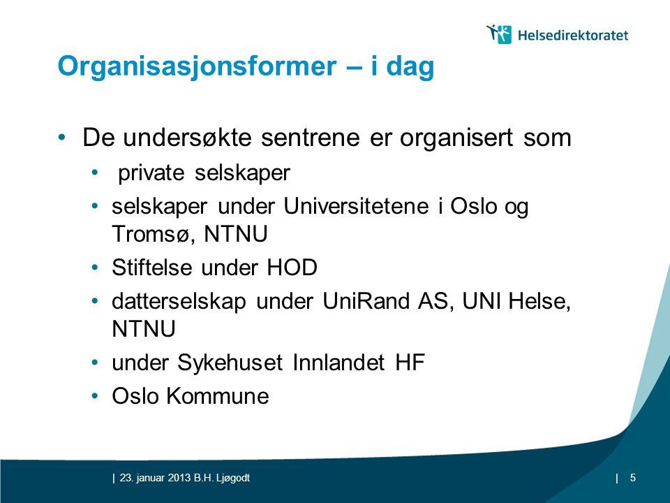 || Organisasjonsformer – i dag •De undersøkte sentrene er organisert som • private selskaper •selskaper under Universitetene i Oslo og Tromsø, NTNU •S