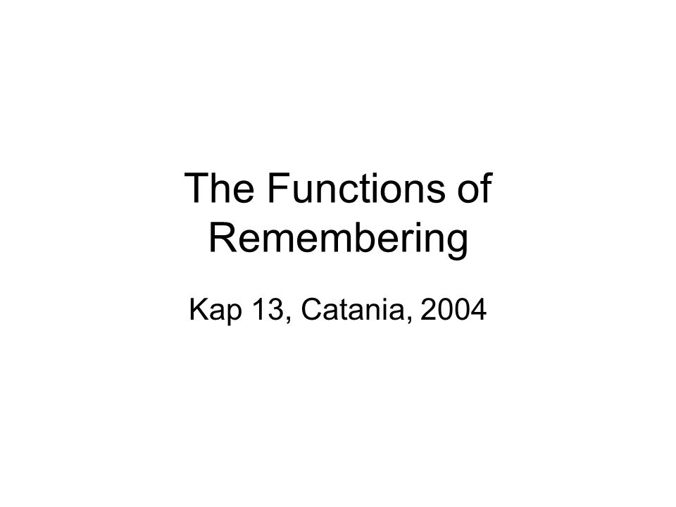 The Functions of Remembering Kap 13, Catania, 2004
