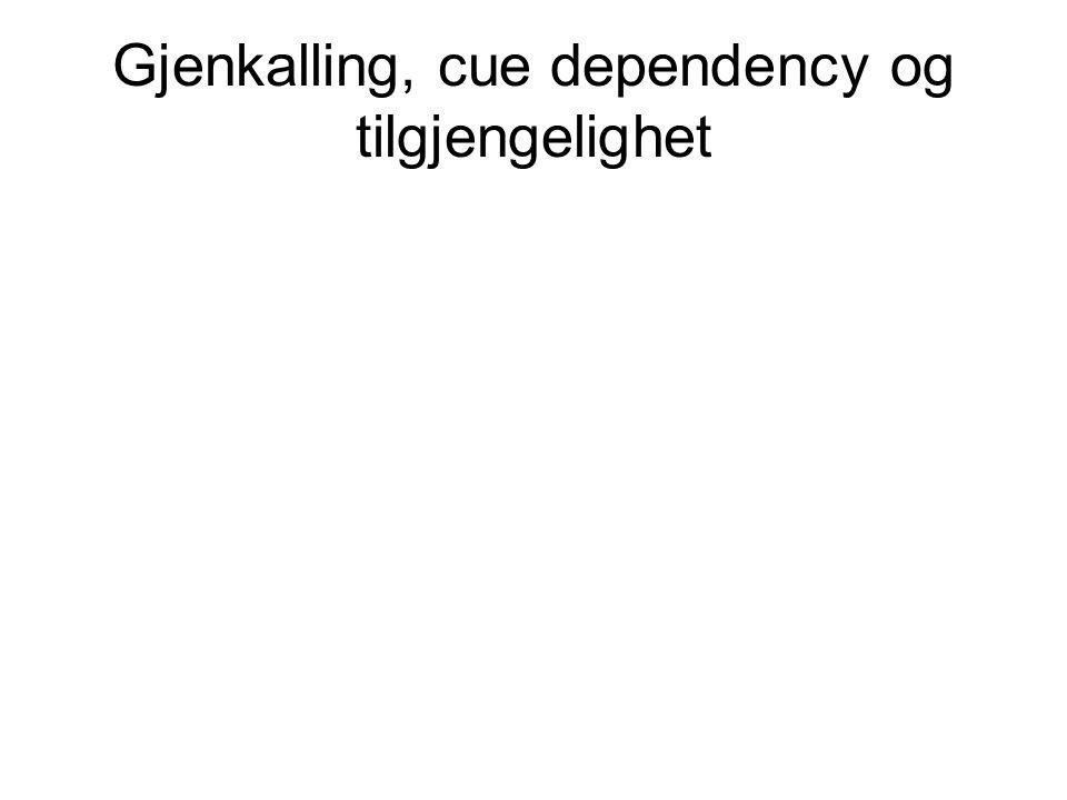 Gjenkalling, cue dependency og tilgjengelighet