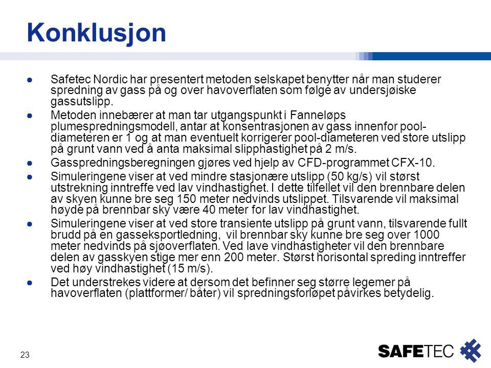 23 Konklusjon ●Safetec Nordic har presentert metoden selskapet benytter når man studerer spredning av gass på og over havoverflaten som følge av under