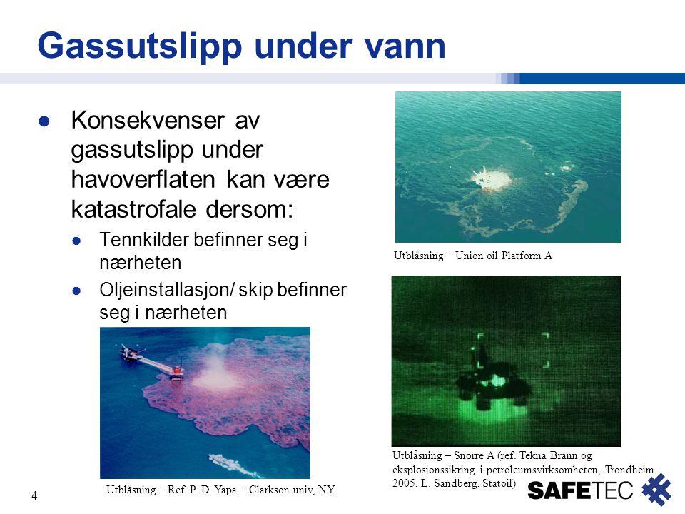4 Gassutslipp under vann ●Konsekvenser av gassutslipp under havoverflaten kan være katastrofale dersom: ●Tennkilder befinner seg i nærheten ●Oljeinsta