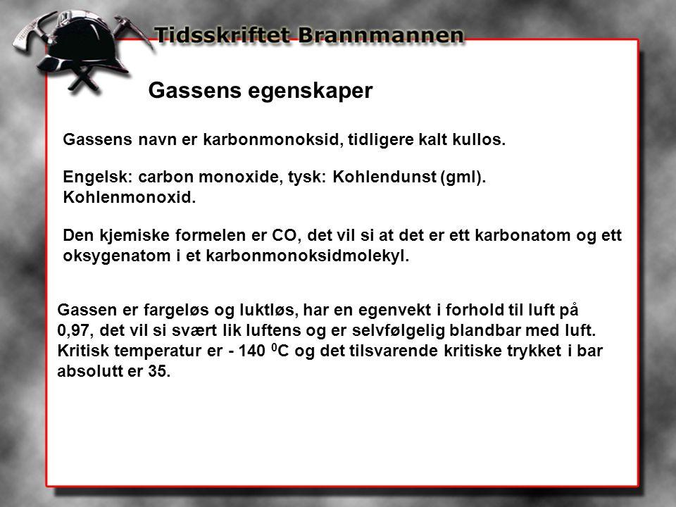 Gassens egenskaper Gassens navn er karbonmonoksid, tidligere kalt kullos. Engelsk: carbon monoxide, tysk: Kohlendunst (gml). Kohlenmonoxid. Den kjemis