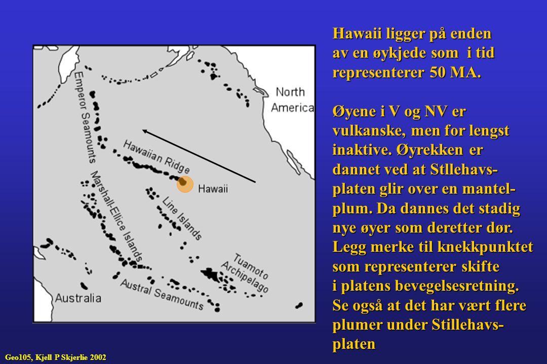Hawaii ligger på enden av en øykjede som i tid representerer 50 MA. Øyene i V og NV er vulkanske, men for lengst inaktive. Øyrekken er dannet ved at S