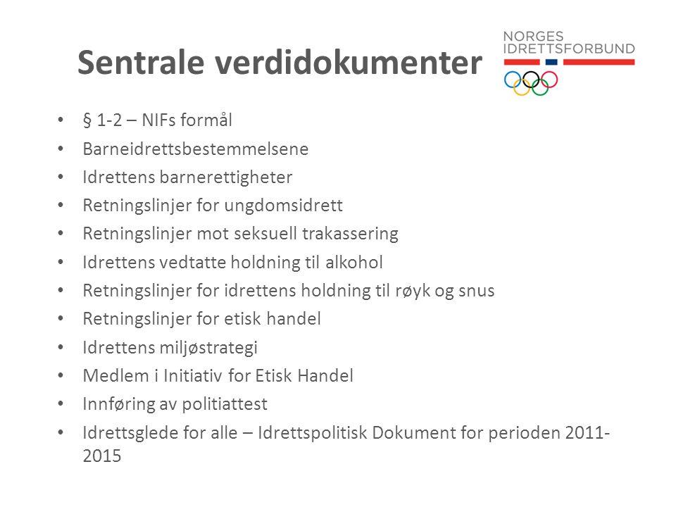 Internasjonale og nasjonale utfordringer for idrettens legitimitet • Handlingsplan mot kampfiksing • Plan mot bekjempelse av doping (under utarbeidelse) • Lov om kriminalisering av doping • Idrettens og holdninger til alkohol • Arbeid mot seksuell trakassering • Likeverd
