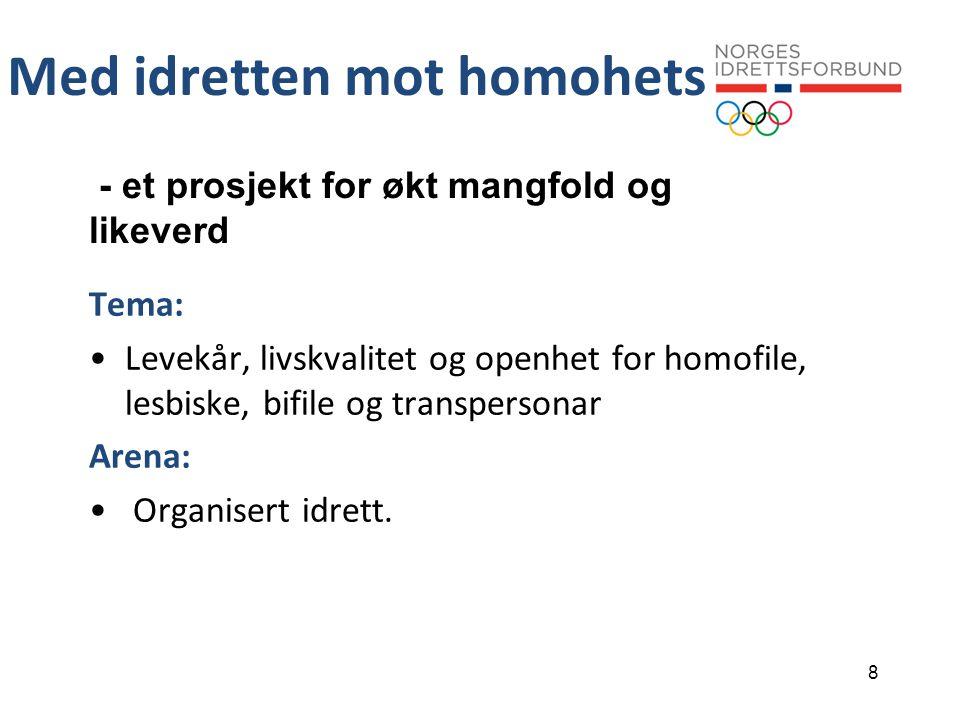 8 Med idretten mot homohets - et prosjekt for økt mangfold og likeverd Tema: •Levekår, livskvalitet og openhet for homofile, lesbiske, bifile og transpersonar Arena: • Organisert idrett.