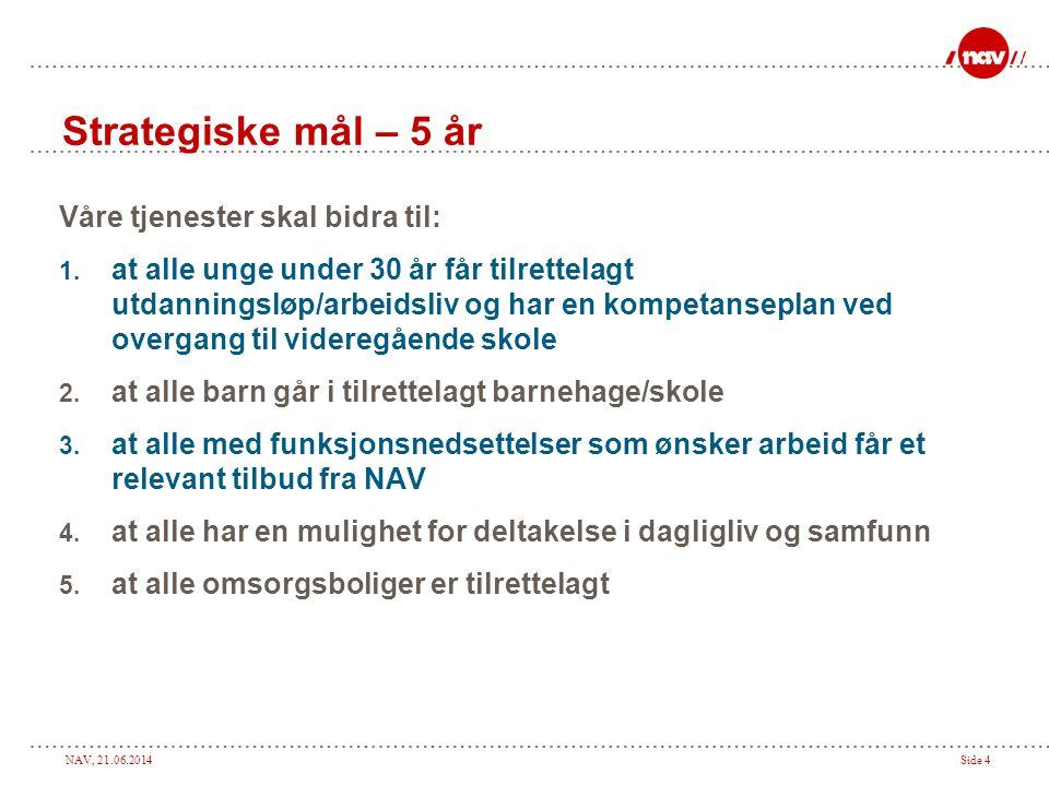 NAV, 21.06.2014Side 4 Strategiske mål – 5 år Våre tjenester skal bidra til: 1.
