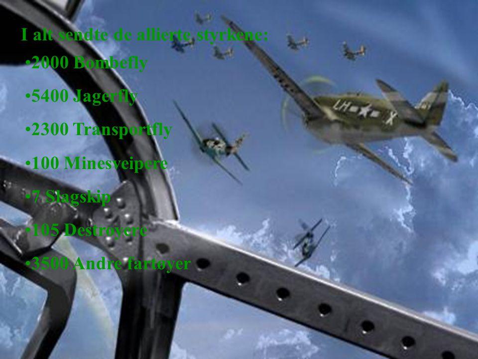 I alt sendte de allierte styrkene: •2000 Bombefly •5400 Jagerfly •2300 Transportfly •100 Minesveipere •7 Slagskip •105 Destroyere •3500 Andre fartøyer