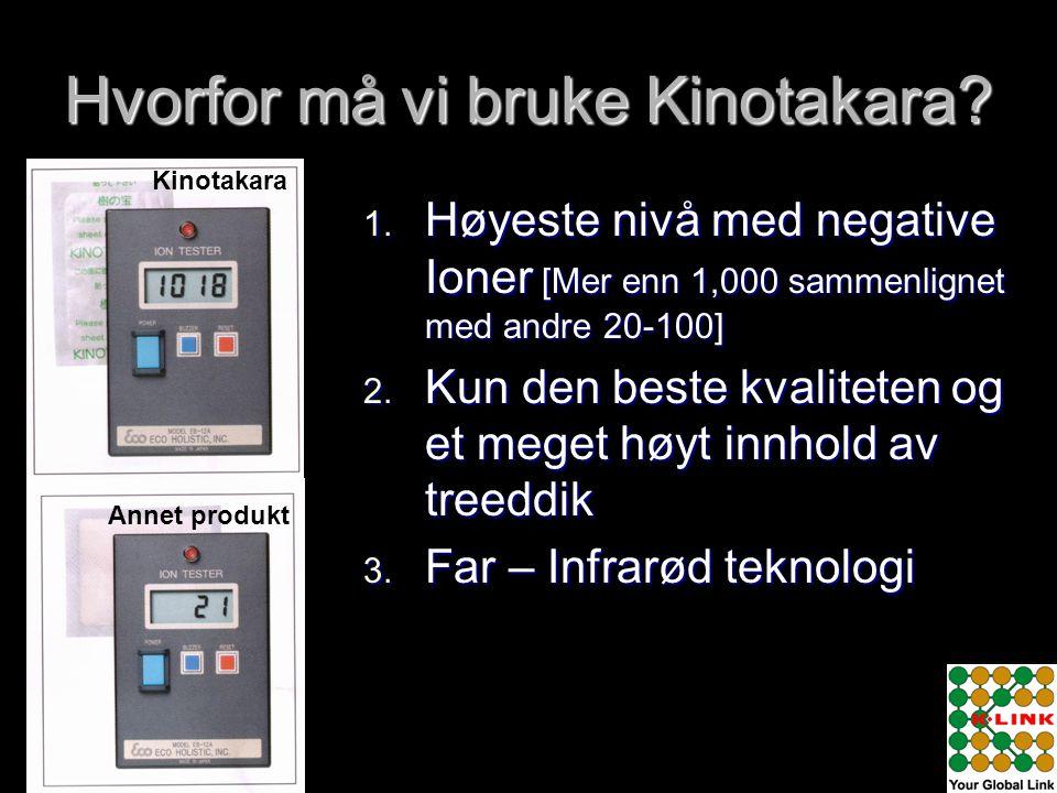 Hvorfor må vi bruke Kinotakara? 1. Høyeste nivå med negative Ioner [Mer enn 1,000 sammenlignet med andre 20-100] 2. Kun den beste kvaliteten og et meg