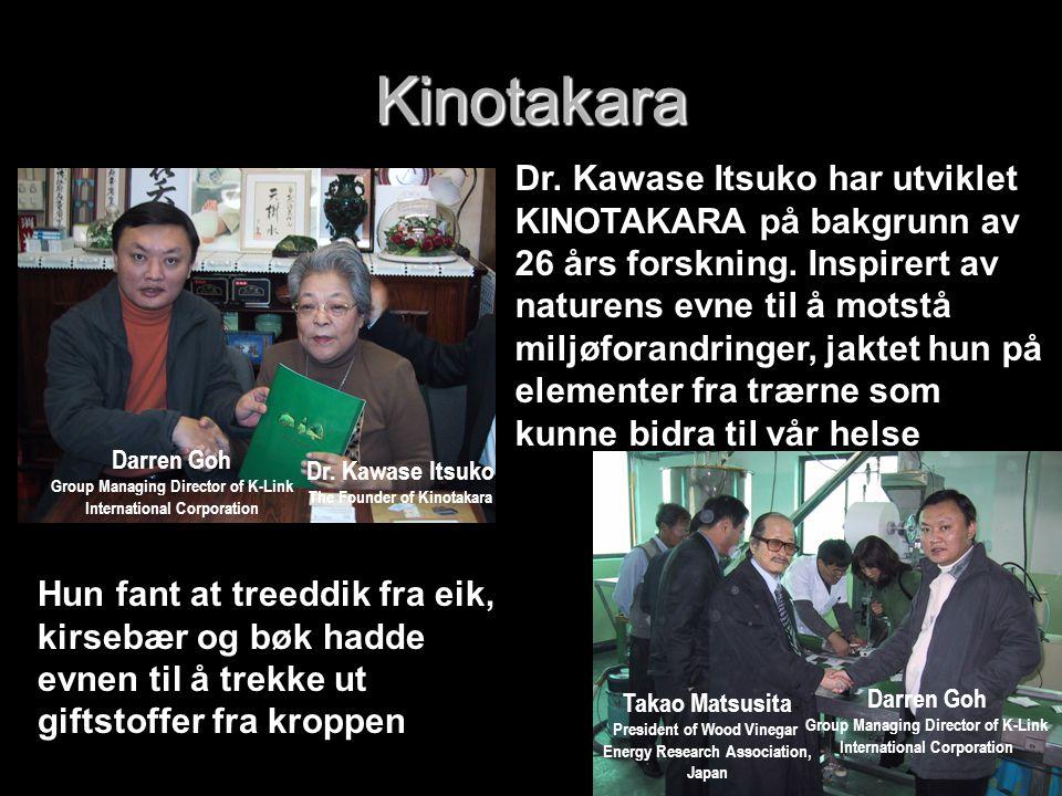 Dr. Kawase Itsuko har utviklet KINOTAKARA på bakgrunn av 26 års forskning. Inspirert av naturens evne til å motstå miljøforandringer, jaktet hun på el