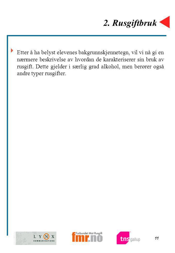 11 2. Rusgiftbruk  Etter å ha belyst elevenes bakgrunnskjennetegn, vil vi nå gi en nærmere beskrivelse av hvordan de karakteriserer sin bruk av rusgi