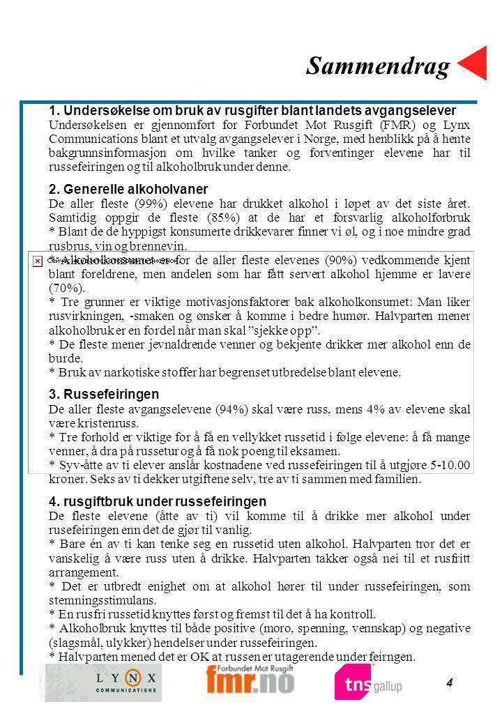 4 Sammendrag 1. Undersøkelse om bruk av rusgifter blant landets avgangselever Undersøkelsen er gjennomført for Forbundet Mot Rusgift (FMR) og Lynx Com