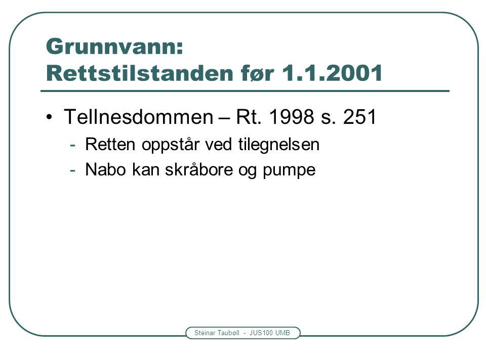 Steinar Taubøll - JUS100 UMB Grunnvann: Rettstilstanden før 1.1.2001 •Tellnesdommen – Rt. 1998 s. 251 -Retten oppstår ved tilegnelsen -Nabo kan skråbo