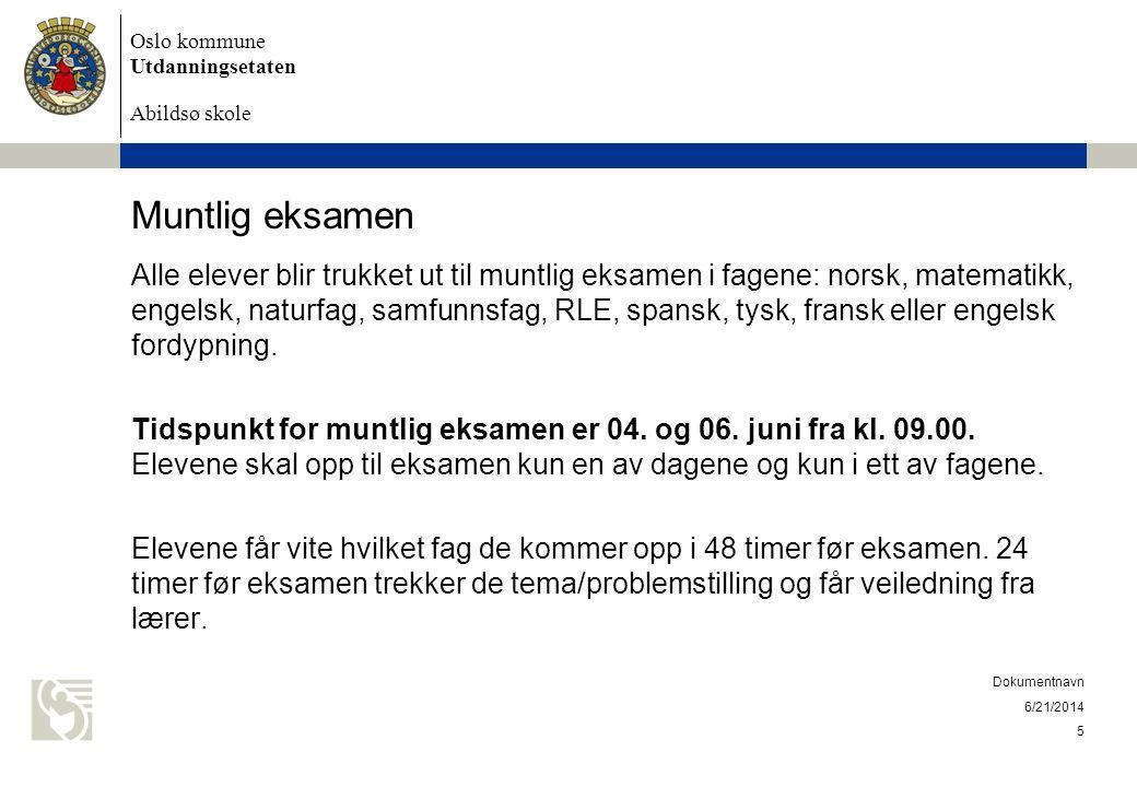 Oslo kommune Utdanningsetaten Abildsø skole Muntlig eksamen Eksaminasjonen vil vare i inntil 30 minutter pr elev.