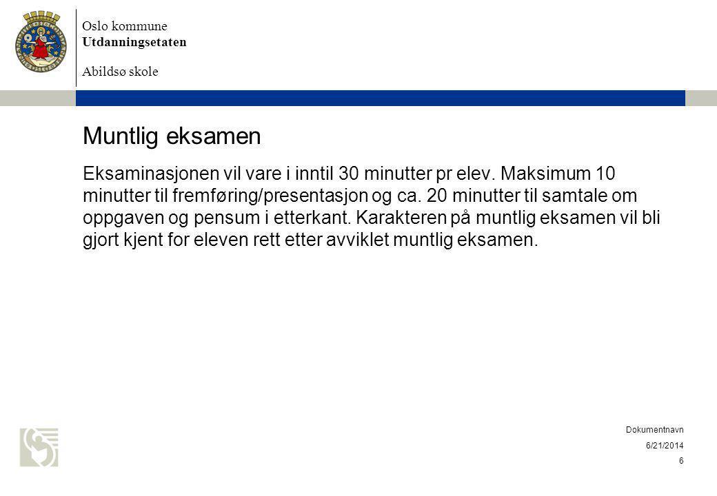 Oslo kommune Utdanningsetaten Abildsø skole Klagerett Eleven kan klage på alle karakterer som skal føres på vitnemålet, både standpunktkarakterer og eksamenskarakterer.