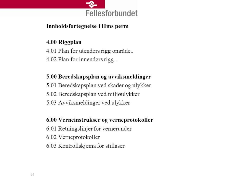 14 Innholdsfortegnelse i Hms perm 4.00 Riggplan 4.01 Plan for utendørs rigg område.. 4.02 Plan for innendørs rigg.. 5.00 Beredskapsplan og avviksmeldi