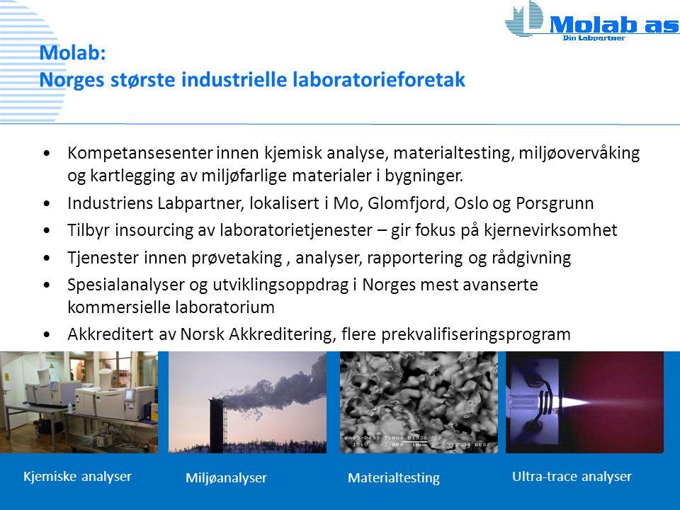 Molab: Norges største industrielle laboratorieforetak •Kompetansesenter innen kjemisk analyse, materialtesting, miljøovervåking og kartlegging av milj