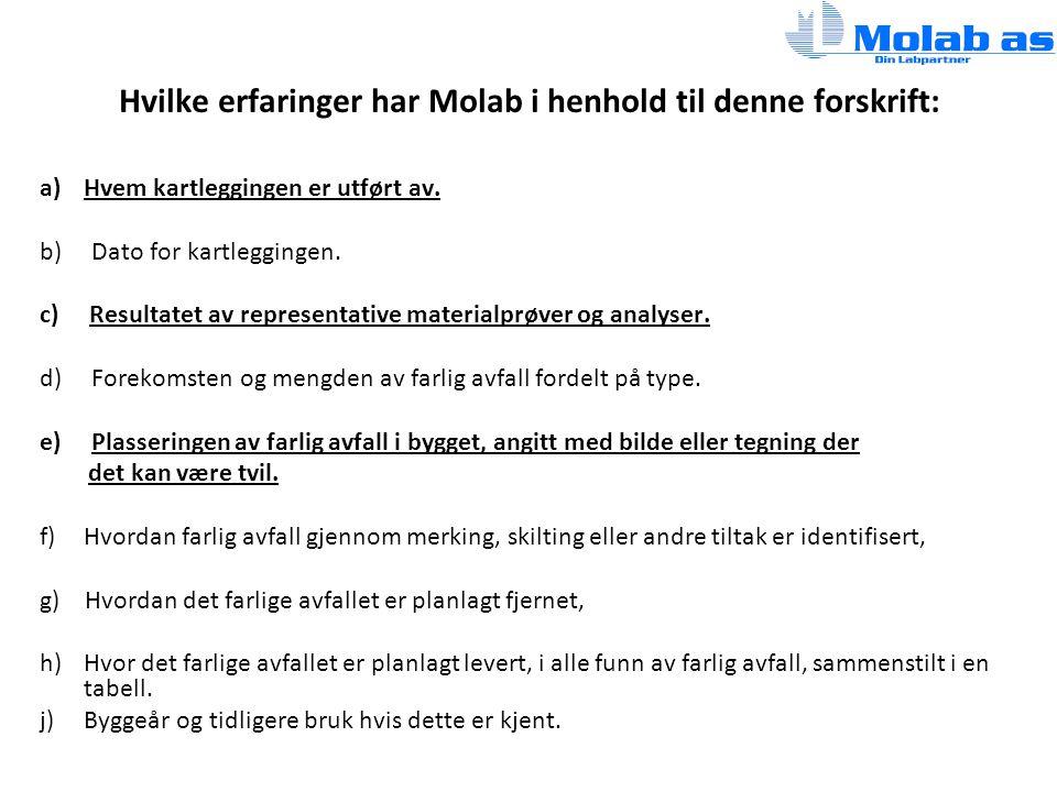 Hvilke erfaringer har Molab i henhold til denne forskrift: a)Hvem kartleggingen er utført av.