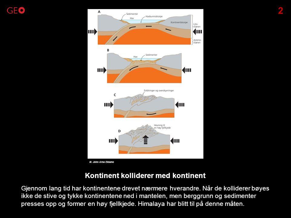Gjennom lang tid har kontinentene drevet nærmere hverandre. Når de kolliderer bøyes ikke de stive og tykke kontinentene ned i mantelen, men berggrunn