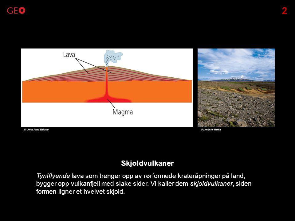 Tyntflyende lava som trenger opp av rørformede krateråpninger på land, bygger opp vulkanfjell med slake sider. Vi kaller dem skjoldvulkaner, siden for