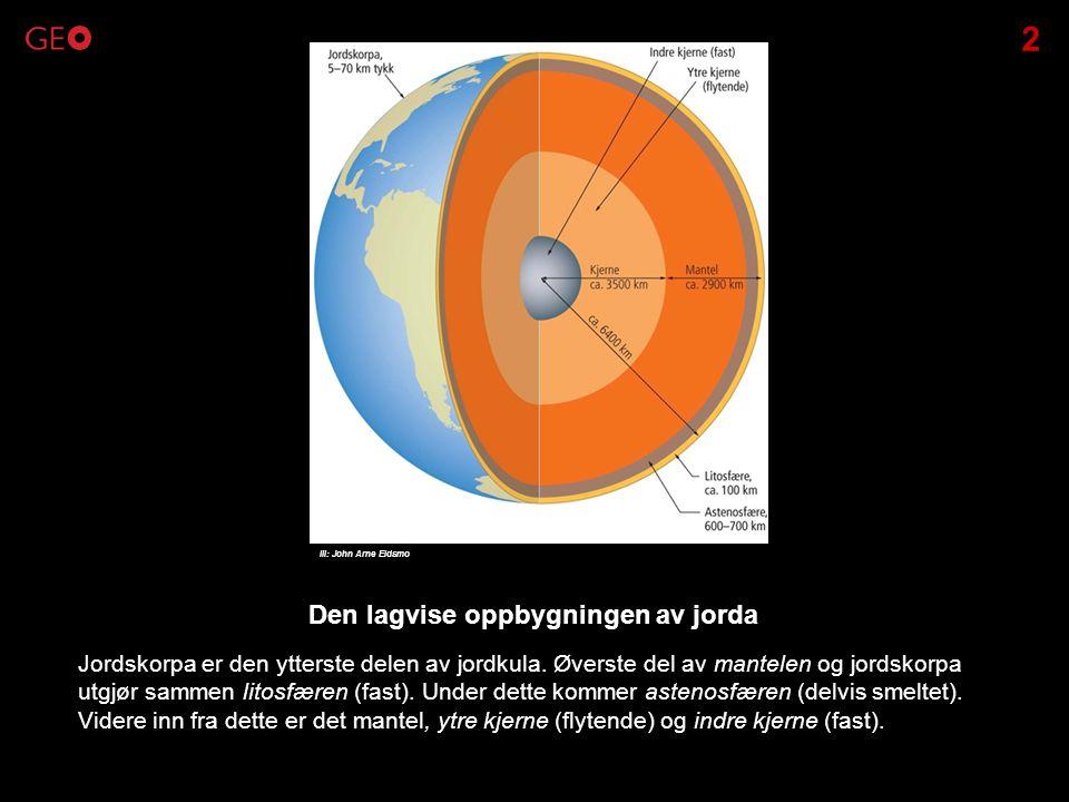 Jordskorpa er den ytterste delen av jordkula. Øverste del av mantelen og jordskorpa utgjør sammen litosfæren (fast). Under dette kommer astenosfæren (