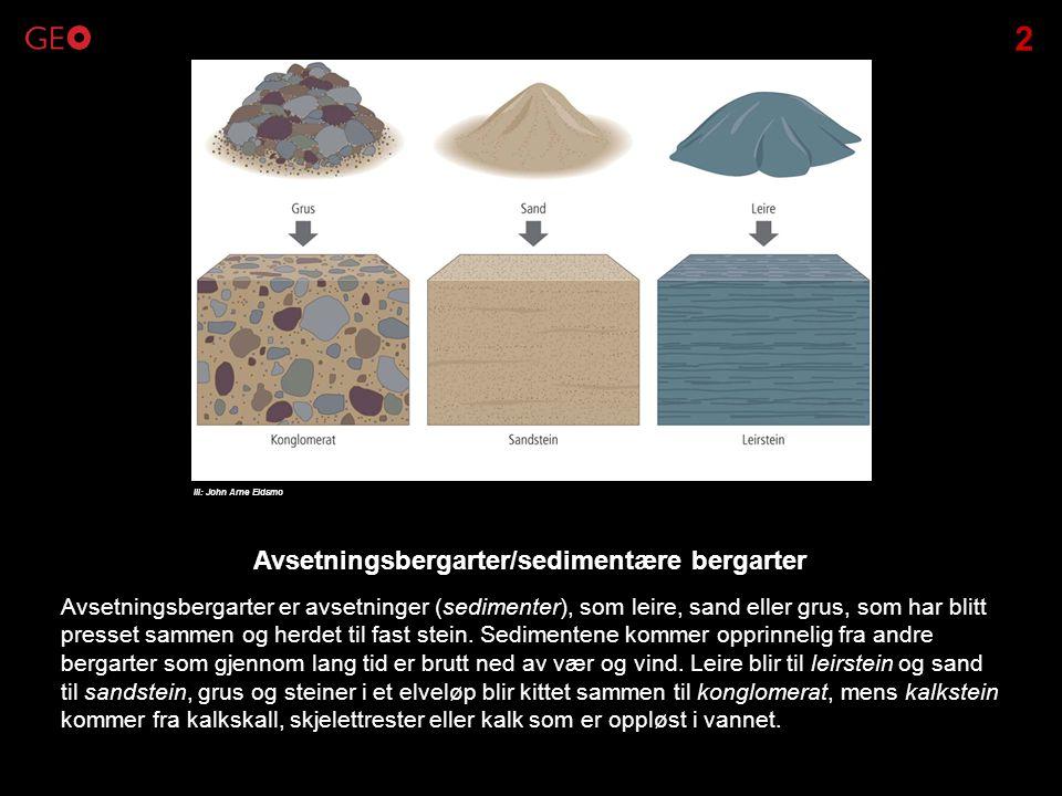 Avsetningsbergarter er avsetninger (sedimenter), som leire, sand eller grus, som har blitt presset sammen og herdet til fast stein. Sedimentene kommer