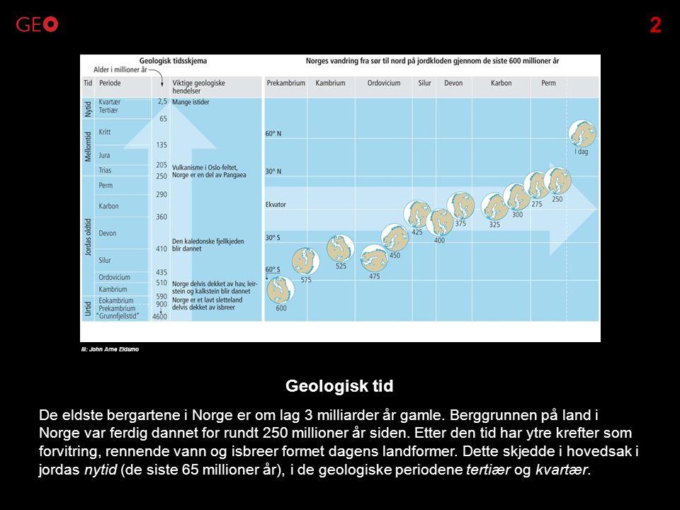 De eldste bergartene i Norge er om lag 3 milliarder år gamle. Berggrunnen på land i Norge var ferdig dannet for rundt 250 millioner år siden. Etter de