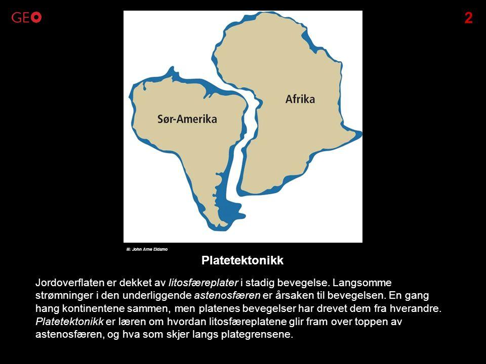 Litosfæreplatene driver fra hverandre, og dermed sprekker jordskorpa opp langs midthavsryggene.