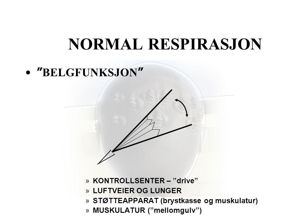 """NORMAL RESPIRASJON •"""" BELGFUNKSJON """" »KONTROLLSENTER – """"drive"""" »LUFTVEIER OG LUNGER »STØTTEAPPARAT (brystkasse og muskulatur) »MUSKULATUR (""""mellomgulv"""