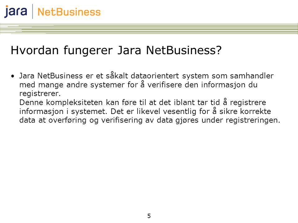 5 Hvordan fungerer Jara NetBusiness? •Jara NetBusiness er et såkalt dataorientert system som samhandler med mange andre systemer for å verifisere den
