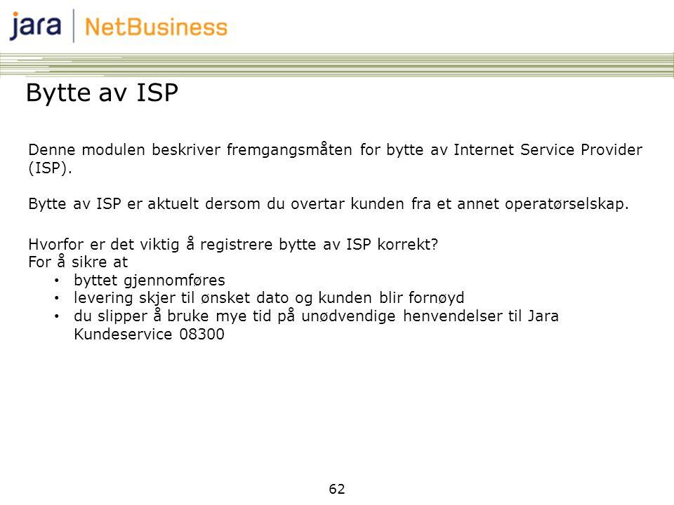 62 Bytte av ISP Denne modulen beskriver fremgangsmåten for bytte av Internet Service Provider (ISP). Bytte av ISP er aktuelt dersom du overtar kunden