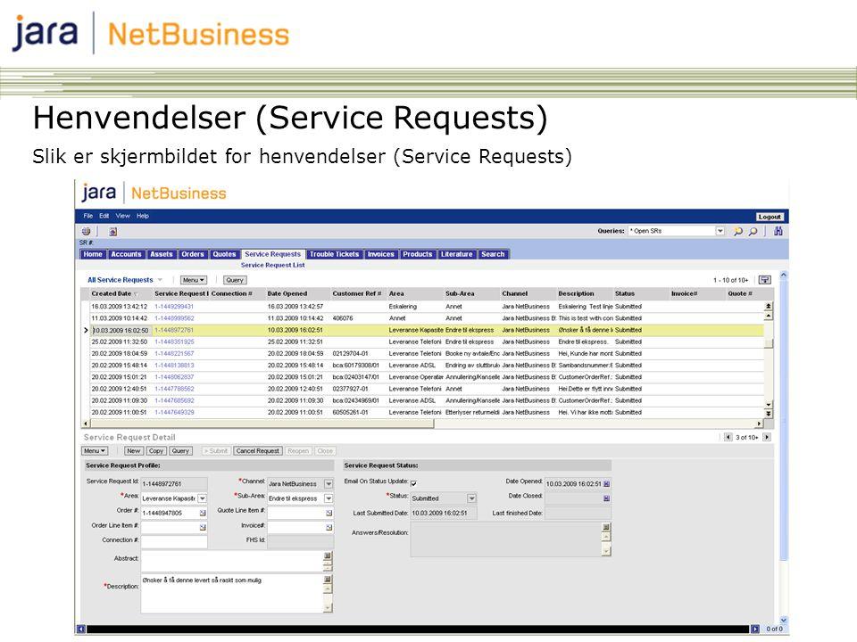 89 Henvendelser (Service Requests) Slik er skjermbildet for henvendelser (Service Requests)