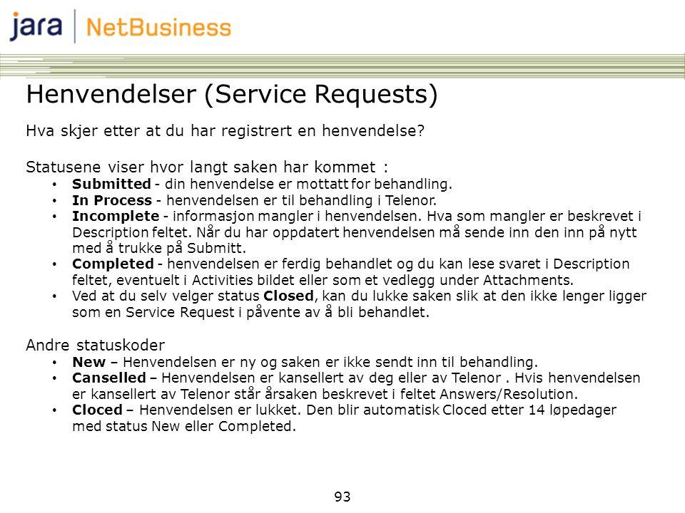 93 Henvendelser (Service Requests) Hva skjer etter at du har registrert en henvendelse? Statusene viser hvor langt saken har kommet : • Submitted - di
